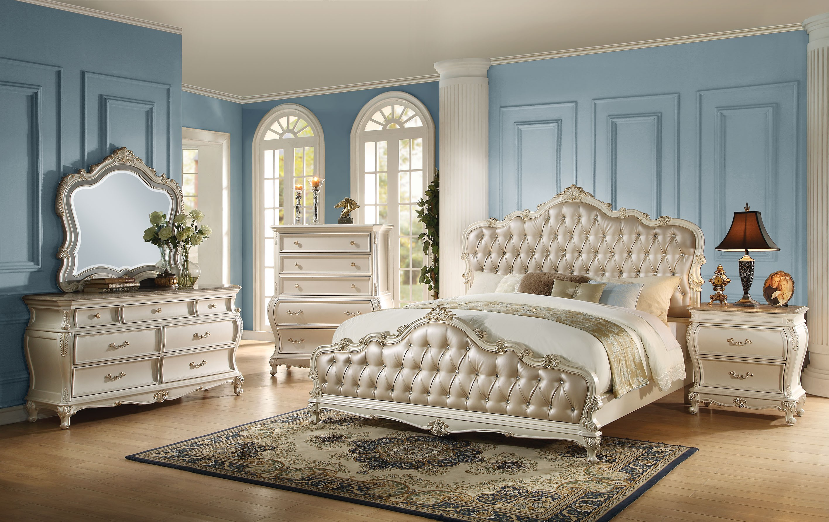 Chantelle 3-Piece King Size Bedroom Set, Pearl White Buy Online at ...