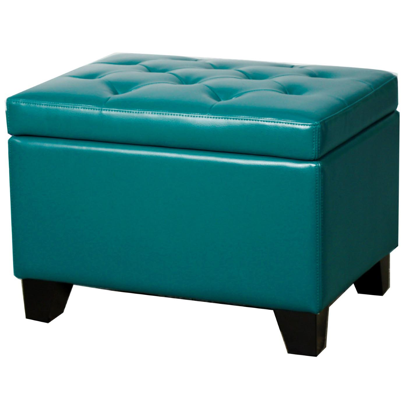 Julian Rectangular Bonded Leather Storage Ottoman, Turquoise By NPD (New  Pacific Direct)