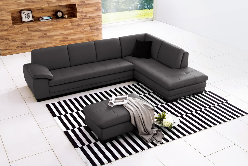 625 Italian Leather Sectional, Right Arm Chaise Facing, Grey by J&M ...