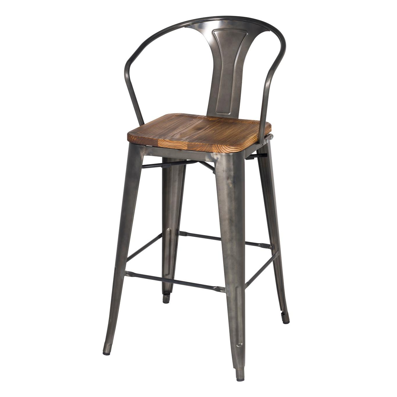 Metropolis Metal Bar Stool Wood Seat Gunmetal Set Of 4 By Npd New Pacific Direct