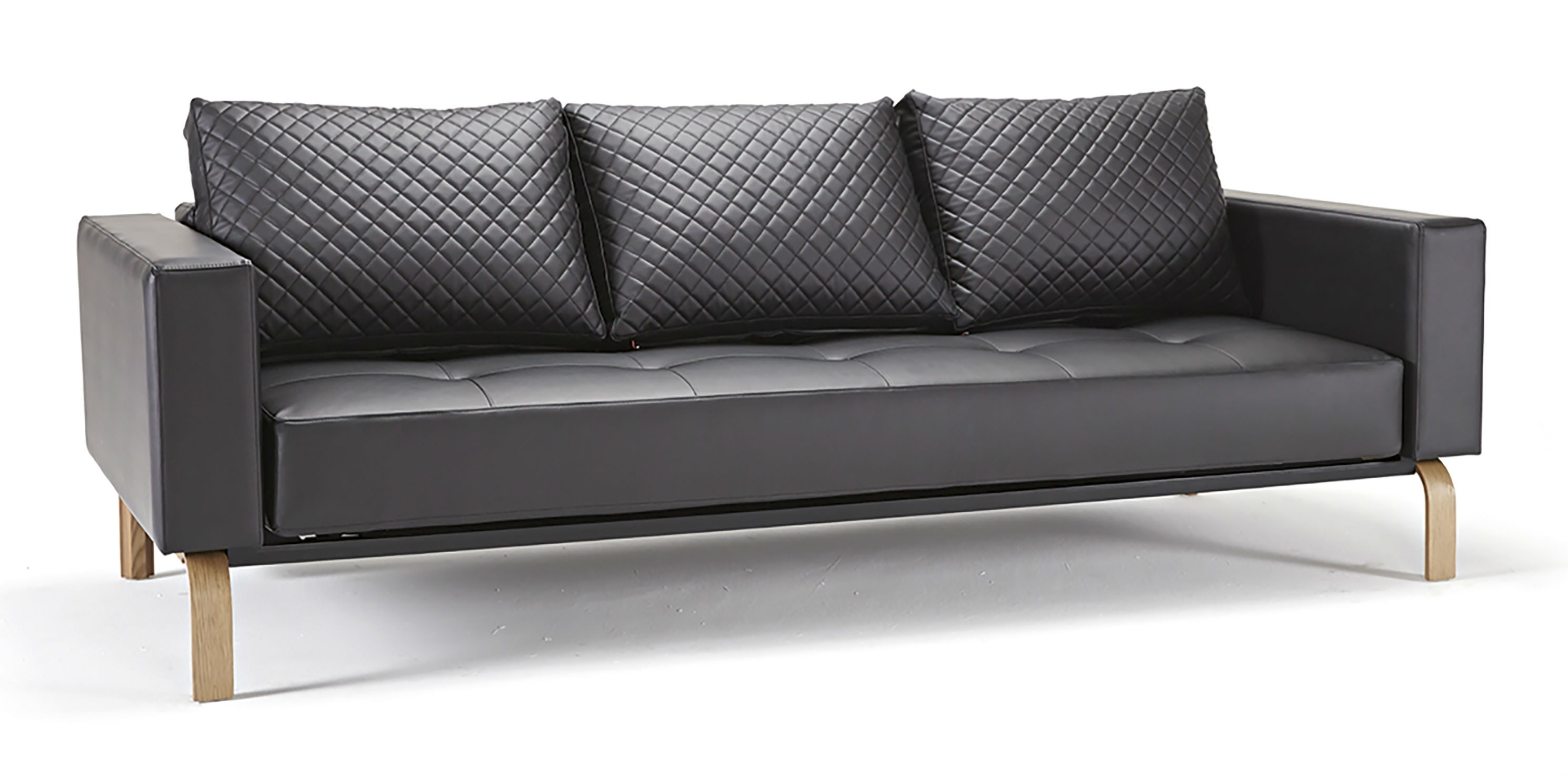 Cassius Quilt Deluxe Full Size Sofa Bed, 582 Leather Look Black PU + Oak  Legs by Innovation Living