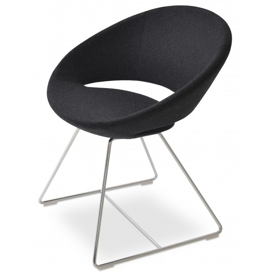Crescent Wire Chair, Chrome, Charcoal Wool photo