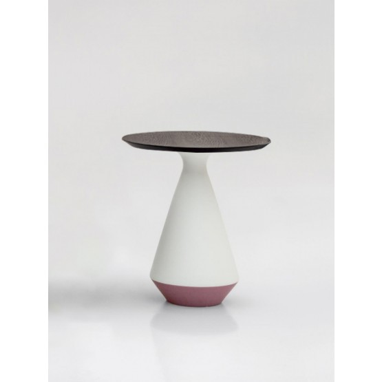 Amira Side Table, Matt White and Purple Ceramic Base, Heat-Treated Dark Oak Wood Top photo