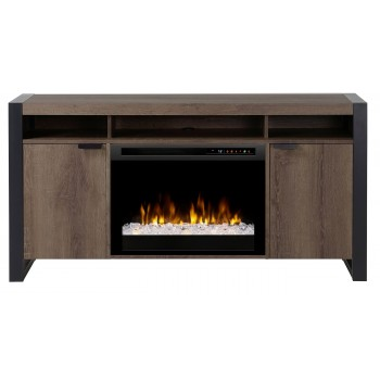 Pierre Media Console Electric Fireplace, Steeltown  Finish, Acrylic Ice (XHD26) Firebox