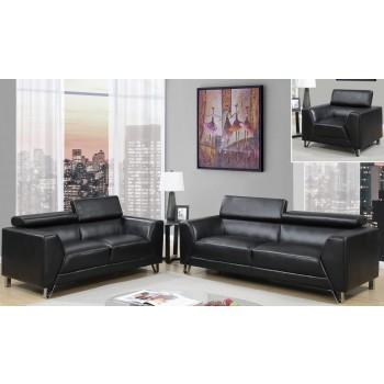 U8210 3-Piece Living Room Set, Black