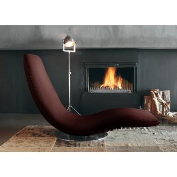 Ricciolo Chaise Lounge, Dark Brown Orchidea Fabric