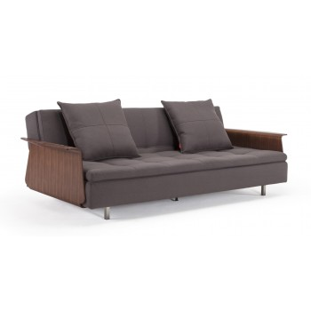 Long Horn Dual Sofa Bed w/Arms, 555T Soft Grey Fabric