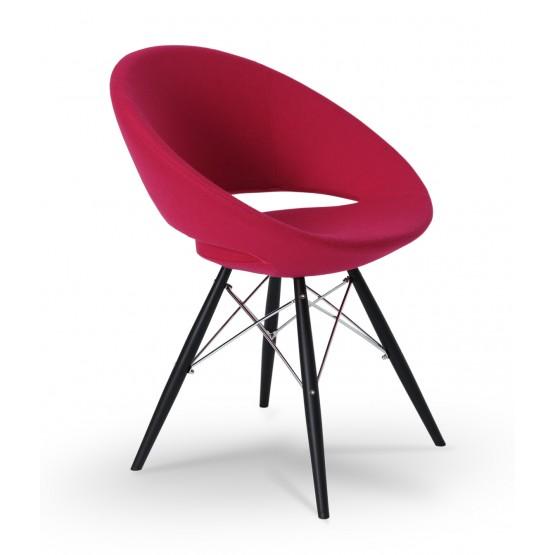 Crescent MW Chair, Black Powder, Pink Wool, Large Seat photo