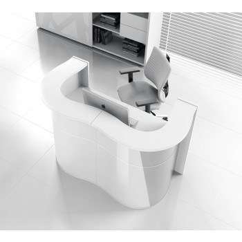 Wave LUV22 Reception Desk, High Gloss White