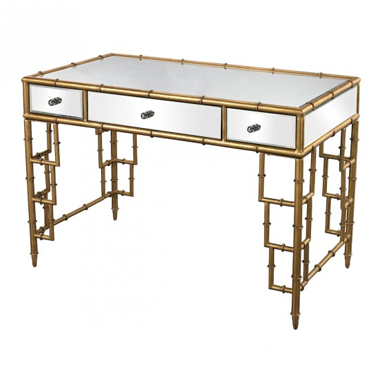 Tunbridge Mirror Top Desk With Bamboo Frame In Gold Leaf photo