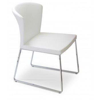 Capri Sled Dininng Chair, White PPM by SohoConcept Furniture