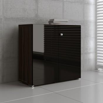 Mito 2-Door Storage MIT21, Dark Sycamore + Black High Gloss