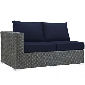 Sojourn Outdoor Patio Sunbrella® Left Arm Loveseat, Canvas Navy by Modway