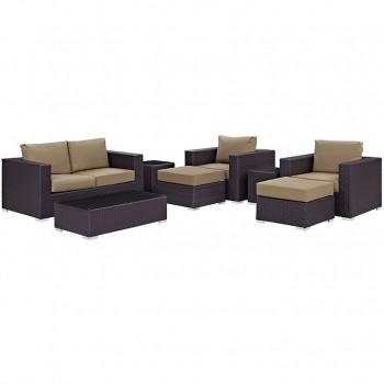 Convene 8 Piece Outdoor Patio Sofa Set, Espresso, Mocha by Modway