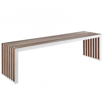 Gridiron Large Wood Inlay Bench, Walnut by Modway