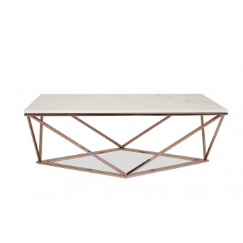 Aria Rose Gold Coffee Table w/White Marble Top