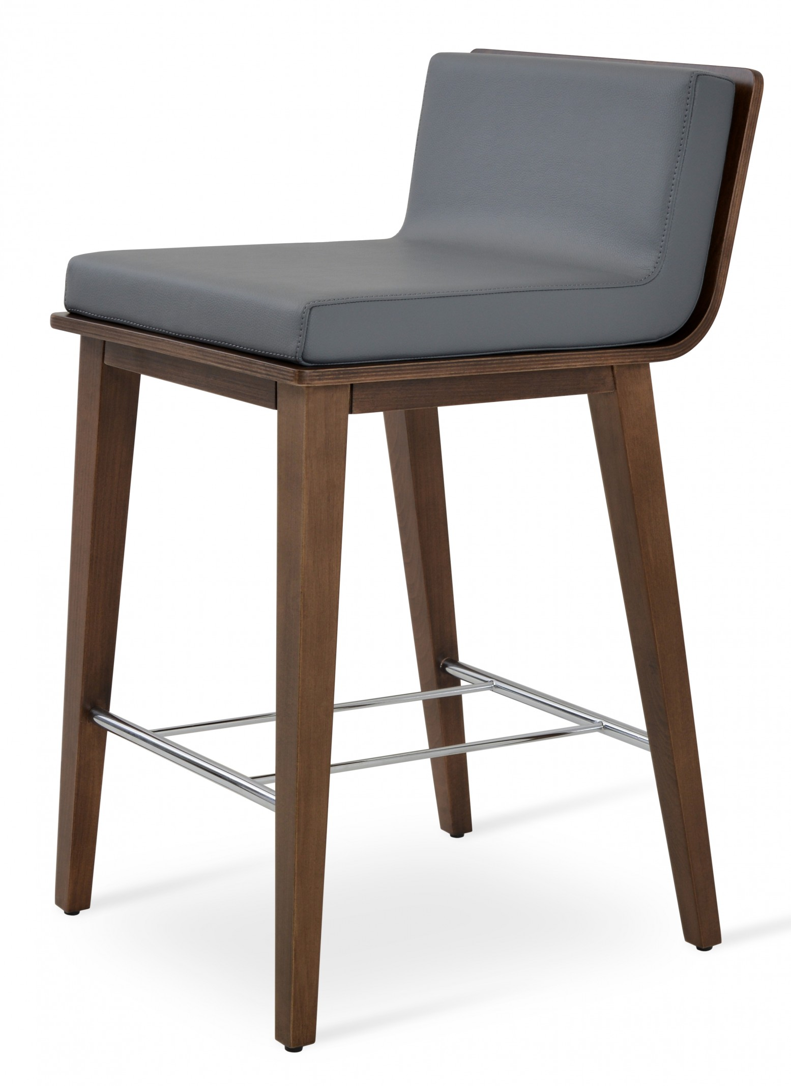 Pleasing Corona Wood Counter Stool Plywood Walnut Finish Grey Leatherette Dallas Seat Andrewgaddart Wooden Chair Designs For Living Room Andrewgaddartcom