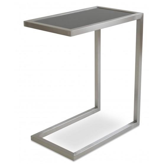Alfa End Table, Black Glass photo