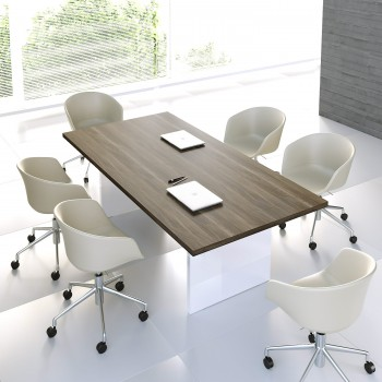 Mito Conference Table MIT11, Dark Sycamore + White High Gloss