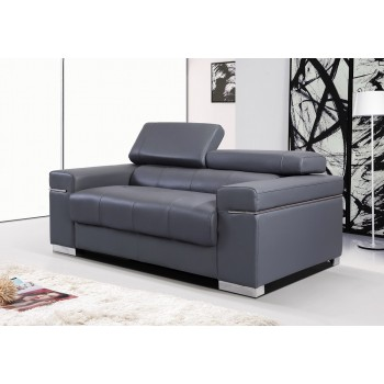Soho Loveseat, Grey Leather by J&M Furniture