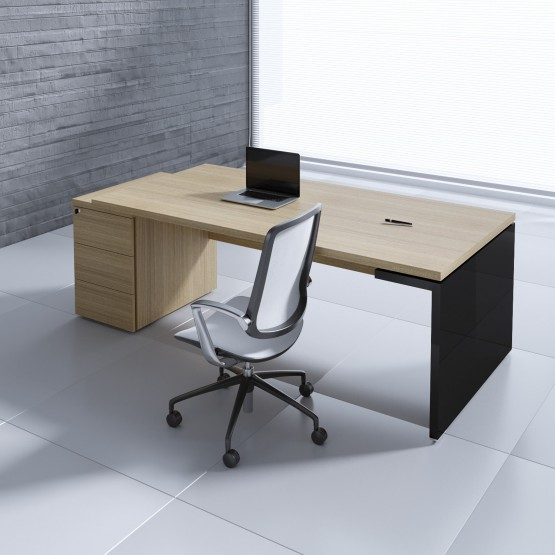 Mito Executive Desk w/Pedestal MIT3KD, Light Sycamore + Black High Gloss photo