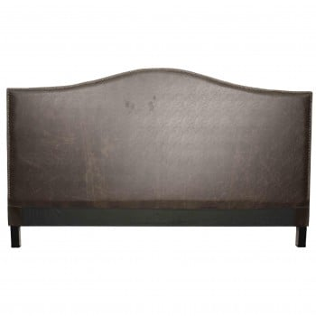 Chloe King Bonded Leather Headboard, Vintage Dark Brown by NPD (New Pacific Direct)