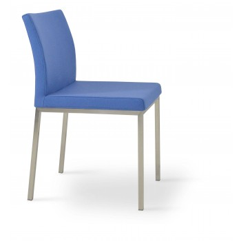 Aria Dininng Chair, Stainless Steel Base, Sky Blue Camira Wool by SohoConcept Furniture