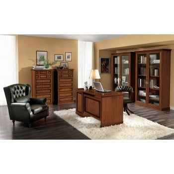 Nostalgia 2-Piece Office Set w/3-Drawer Computer Desk, Walnut