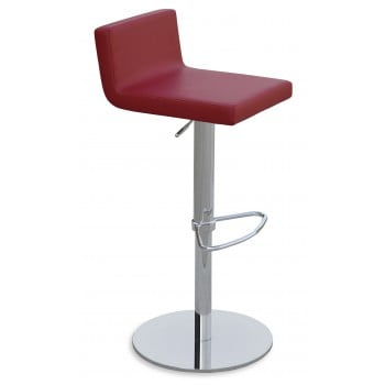 Dallas Piston Stool, Chrome, Red Leatherette, Round Base by SohoConcept Furniture