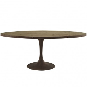 "Drive 78"" Oval Wood Top Dining Table, Brown by Modway"