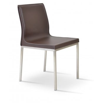Polo Chrome Dining Chair, Brown Bonded Leather by SohoConcept Furniture