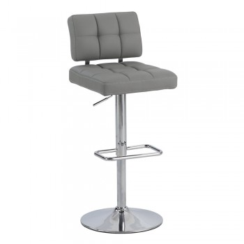 0636 Tufted Back Pneumatic Stool, Grey by Chintaly Imports