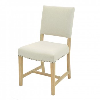 Arthur Fabric Chair, Brushed Smoke Legs, Light Sand, Set of 2 by NPD (New Pacific Direct)