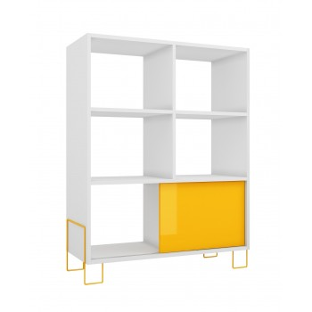 Boden Mid-High Side Stand, White + Yellow