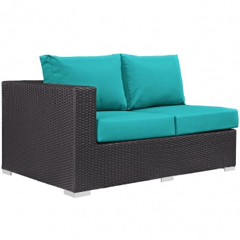 Convene Outdoor Patio Left Arm Loveseat, Espresso, Turquoise by Modway