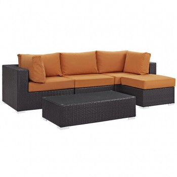 Convene 5 Piece Outdoor Patio Sectional Set, Сomposition 4, Espresso, Orange by Modway