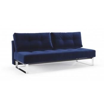 Supremax Deluxe Excess Full Sofa Bed, 865 Vintage Velvet Blue + Chromed Legs