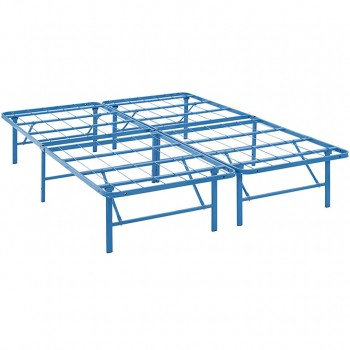 Horizon Queen Stainless Steel Bed Frame, Light Blue by Modway