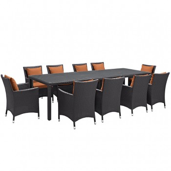 Convene 11 Piece Outdoor Patio Dining Set, Сomposition 1, Espresso, Orange by Modway