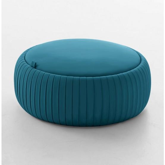 Plisse Medium Pouf, Night Blue Eco-Leather photo