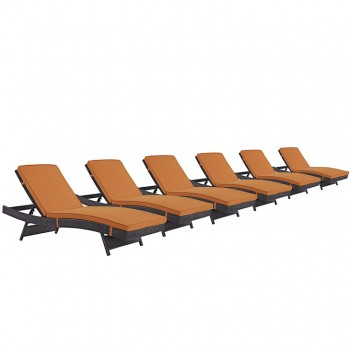 Convene Chaise Outdoor Patio, Set of 6, Espresso, Orange by Modway