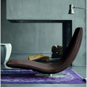Ricciolo Chaise Lounge, Dark Brown Eco-Leather