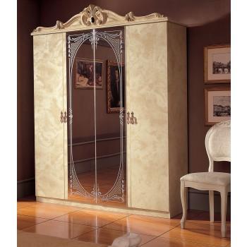 Barocco 4-Door Wardrobe, Ivory
