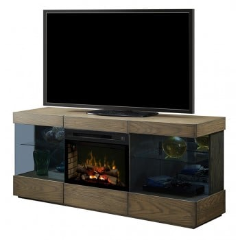 "Axel Media Console, Raked Sand Finish, Realogs 25"" Firebox"