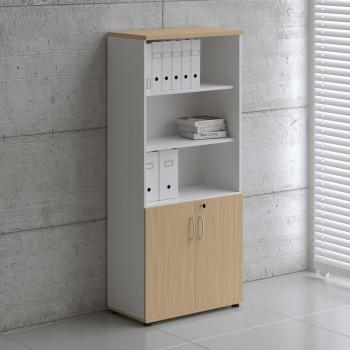 Basic K5404 2-Door Storage, White + Beech