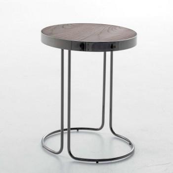 Cora Side Table, Black Chrome Metal Base, Heat-Treated Dark Oak Wood Top