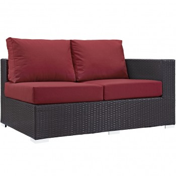 Convene Outdoor Patio Right Arm Loveseat, Espresso, Red by Modway