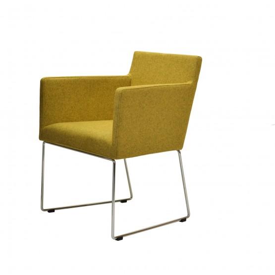 Harput Sled Wire Arm Chair, Chrome, Amber Camira Wool photo