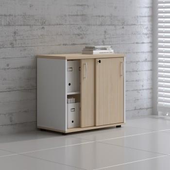 Sliding Doors Storage Unit A2P04, White + Beech