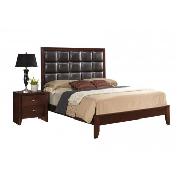 Carolina Queen Size Bed, Brown Cherry